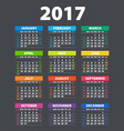 2017 Calendar - template of color 2017 calendar vector image