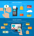 wireless payment and online shopping banners vector image