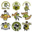 set of olive oil labels design elements for logo vector image vector image