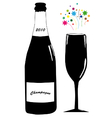 Champagne with glass vector image