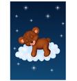 Baby bear sleeping on the cloud vector image