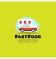 Cartoon fast food truck logo vector image