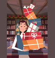 man holding pile of gift boxes walking through vector image