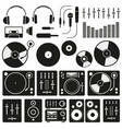 music equipment icon set on white background vector image