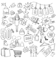 Shopping doodles Sale hand drawn style vector image