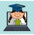 girl laptop student cap vector image