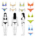 girl and swimsuits outlined set vector image vector image