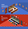 bar people isometric banner set vector image
