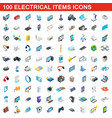 100 electrical items icons set isometric 3d style vector image
