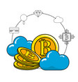 cloud data and bitcoin with icons around vector image