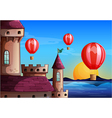 Floating balloons near the castle vector image vector image