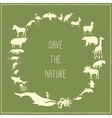 Concept green poster with animals silhouettes vector image