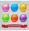 Set of six neon christmas balls vector image