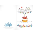 Happy birthday card Cartoon funny bird on a vector image