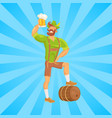 bearded man drinking beer vector image
