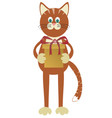 cat with gift vector image