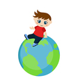 Cute boy sitting on blue planet vector image