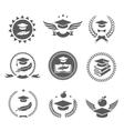 Graduation cap labels set College study diploma vector image