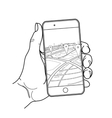 Graphic hand with smartphone vector image