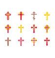 set of christian cross icon vector image