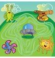 UFO monster maze - vector image