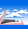 view from the window to the sky wing the plane vector image