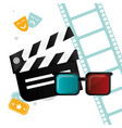 cinema clapper 3d glasses tickets and filmstrip vector image