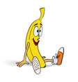 smiling funny banana in sneakers vector image