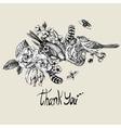 Thank You Hand Drawn Greeting Card vector image