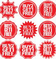 Buy 2 get 1 free red label Buy 2 get 1 free red vector image