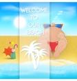 Cartoon man on the beach vector image