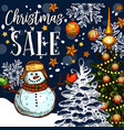 christmas holiday sale promo sketch poster vector image
