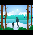 man and boy in snow vector image