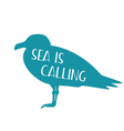 silhouette of seagull with motivational text vector image