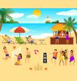 tropical beach elements set vector image