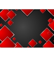 Abstract red geometric squares with metallic frame vector image vector image