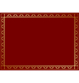 dark red frame with golden decor vector image