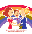 Young lesbian couple family with son on rainbow vector image