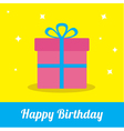 Gift box ribbon and bow with sparkles Birthday vector image