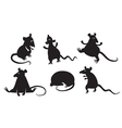 fancy rats silhouettes set vector image