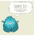 Cartoon card blue thick monster with one eye vector image
