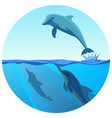 dolphin jumping out of water in deep blue sea vector image