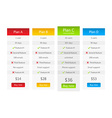 Light pricing table with 4 plans vector image