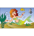 mermaid swimming underwater vector image