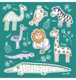 Set of wild animals and birds vector image