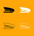 stapler black and white set icon vector image
