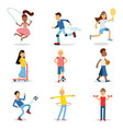teenagers doing different sport set children vector image