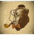 Vintage Card Hipster Animal Camel with pipe vector image