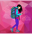 walking girl with a mobile phone vector image