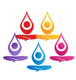 Team of yoga people logo Vector Image